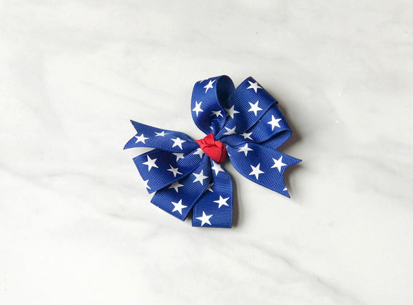 Girls Patriotic Royal Blue Triple Loop Hair Bow I The Enchanted Magnolia