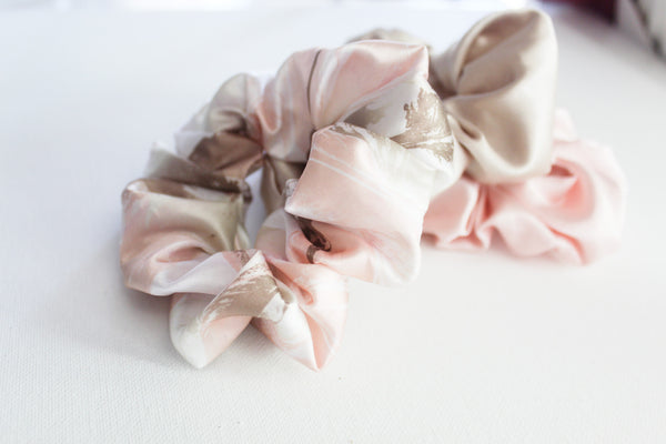 Satin Feather Printed Hair Scrunchie Set I The Enchanted Magnolia