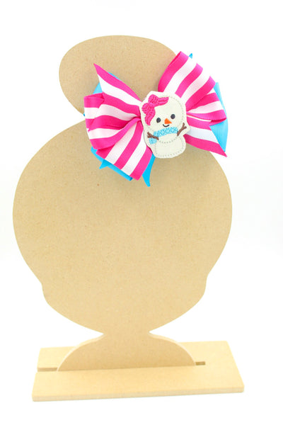 Cute Snow Girl Winter Stripe Hair Bow I The Enchanted Magnolia