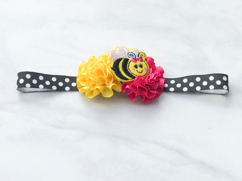 Little Girls Bumble Bee Satin Flower Headband I The Enchanted Magnolia