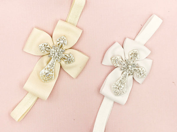 Girls Rhinestone Cross Hair Bow I The Enchanted Magnolia