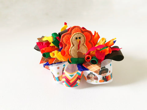 Thanksgiving Turkey Funky Loop Bow