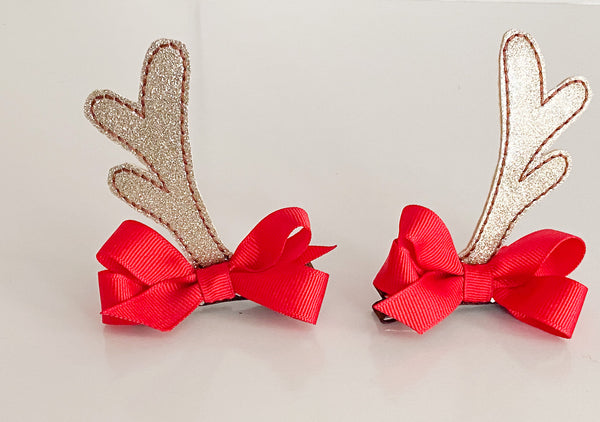 Glitter Vinyl Reindeer Antler Hair Clips I The Enchanted Magnolia