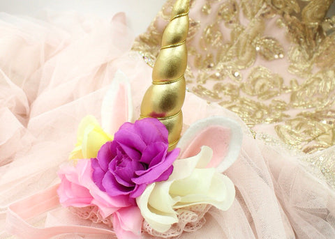 Girls Unicorn Flower Birthday Party Headband Set of 6 or 10 Pink / Gold / Off-White / Purple / Yellow I The Enchanted Magnolia