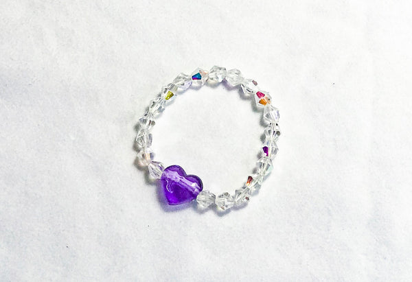 Purple Heart and Sparkling Beaded Elastic Bracelet Image 2