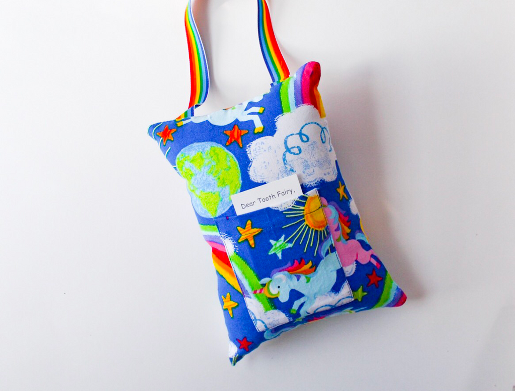Crayon Rainbow and UnicornTooth Fairy Pillow and Money Holder I The Enchanted Magnolia