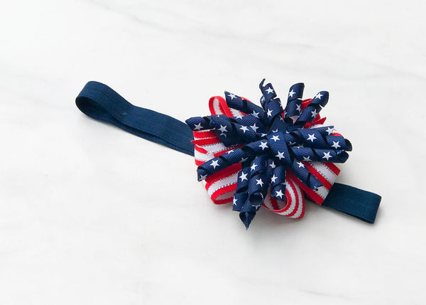 Baby Patriotic Korker Headband I The Enchanted Magnolia