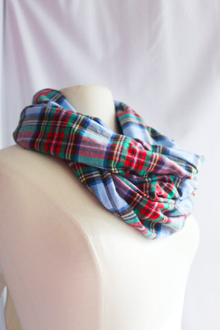 Kids Light Blue, Red, Green Plaid Infinity Scarf I The Enchanted Magnolia