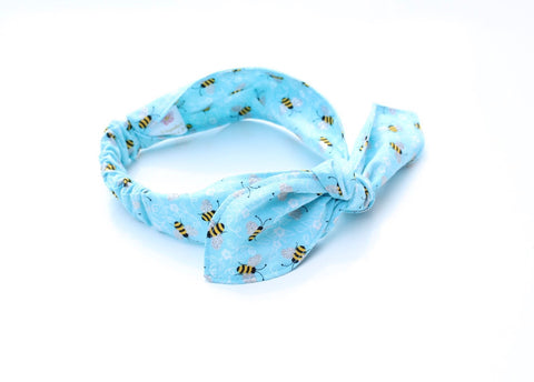 Bumblebee Print on Light Blue Top Knot Headband - The Enchanted Magnolia
