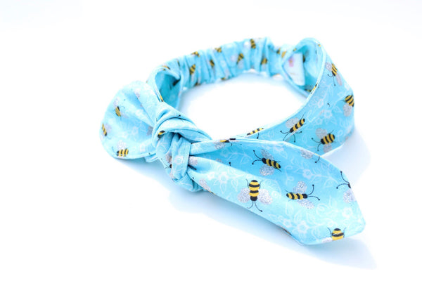 Light Blue Bumblebee Top Knot Headband Magnolia's Mommy n' Me 5