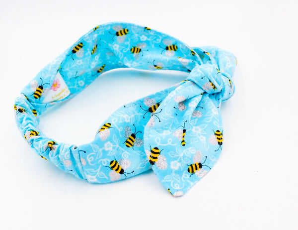 Light Blue Bumblebee Top Knot Headband Magnolia's Mommy n' Me 11