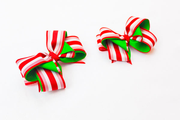 Red and White Stripe Christmas Hair Accessory I The Enchanted Magnolia
