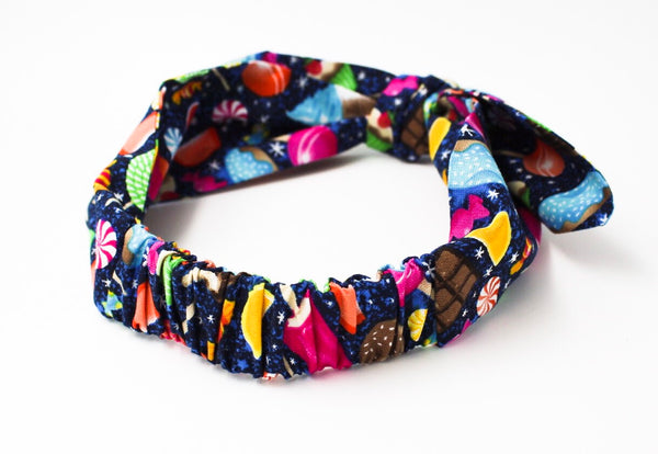 Girls Sweet Treat Galaxy on Navy Top Knot Headband I The Enchanted Magnolia