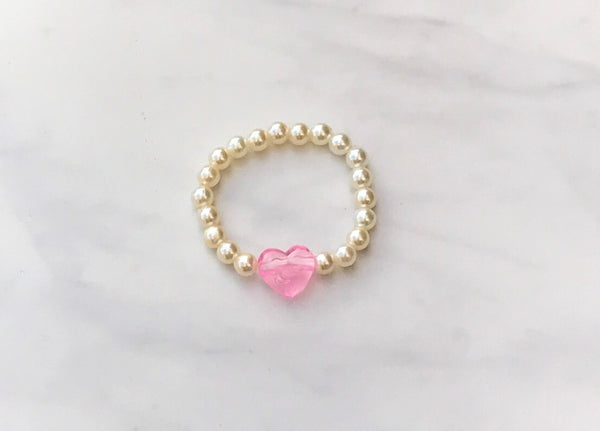 Girls Pink Heart Pearl Bracelet I The Enchanted Magnolia