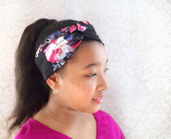 Girls Flower Twist Knot Headband I Black / Red / White / Purple / Magenta