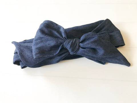 Girls Head Wraps Headband I Blue Denim