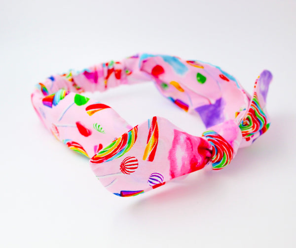 Girls Rainbow Candy on Pink Top Knot Headband I The Enchanted Magnolia