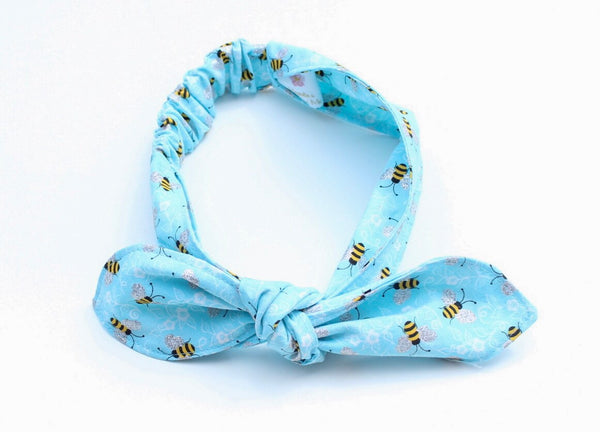 Light Blue Bumblebee Top Knot Headband Magnolia's Mommy n' Me 8