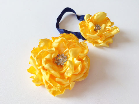 Mommy and Me Yellow Matching Flower Hair Accessory Set I Magnolia's Mommy N' Me