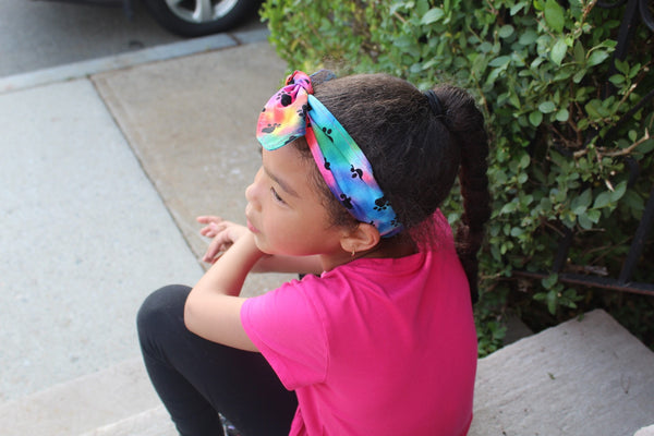 Girls Rainbow Animal Paw Print Top Knot Headband I The Enchanted Magnolia