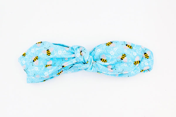 Light Blue Bumblebee Top Knot Headband Magnolia's Mommy n' Me 4