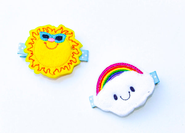 Happy Sunshine and Rainbow Barrette Set - The Enchanted Magnolia