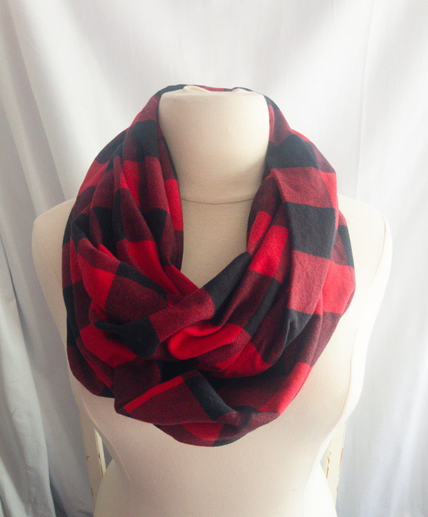 Dark Red and Black Buffalo Check Infinity Scarf I The Enchanted Magnolia