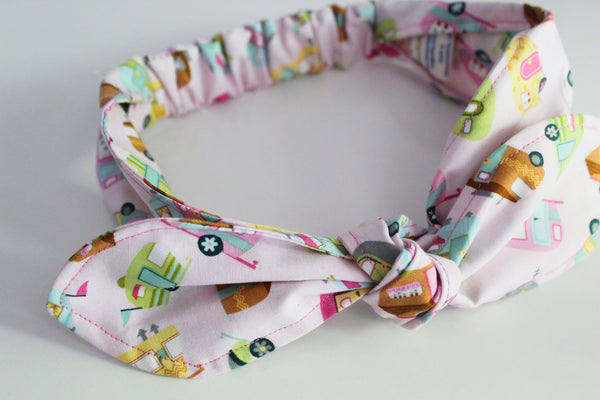 Girls Pink Camper Top Knot Headband I The Enchanted Magnolia