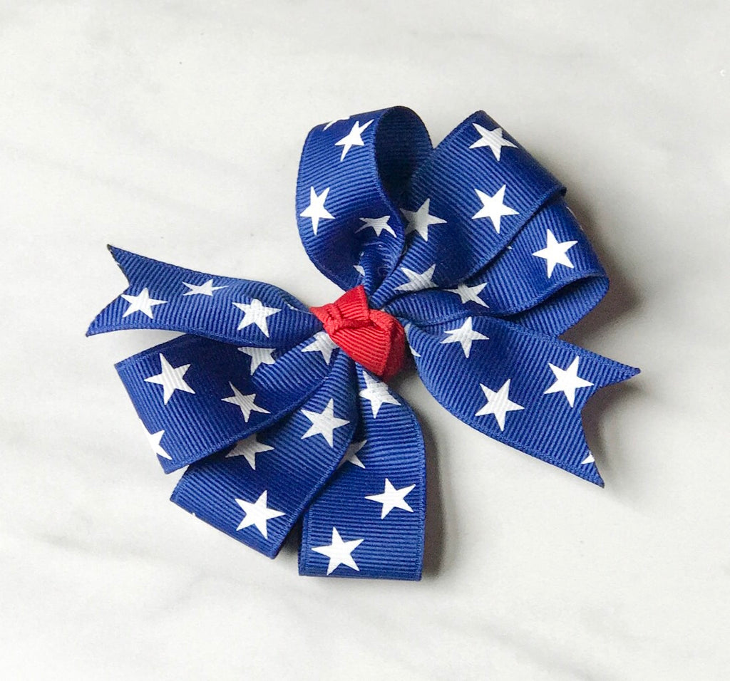 Girls Patriotic Royal Blue Triple Loop Hair Bow - The Enchanted Magnolia
