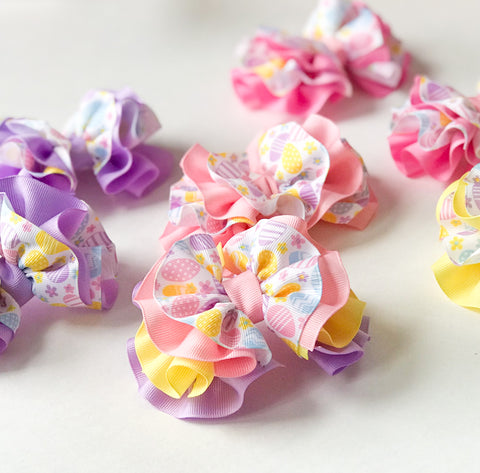 Easter Egg Wavy Hair Bow I The Enchanted Magnolia