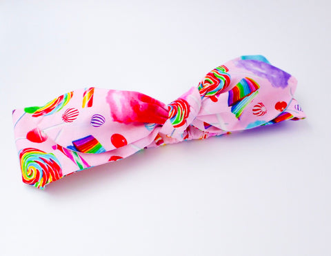Rainbow Candy on Pink Top Knot Headband - The Enchanted Magnolia