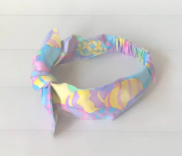 Girls Easter Egg Printed Top Knot Headband I The Enchanted Magnolia