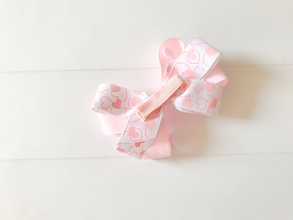 Girls Double Twisted Valentine Heart Boutique Hair Bow I The Enchanted Magnolia