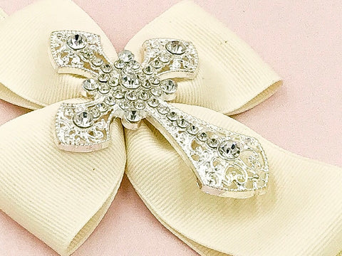 Girls Rhinestone Cross Hair Bow