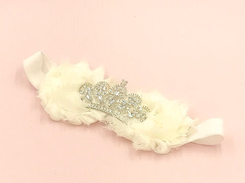 Girl Princess Tiara Headband I Antique White