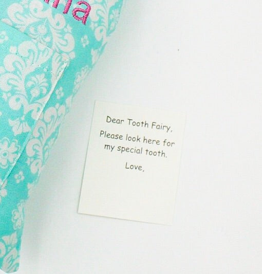 Tooth Fairy Pillow Aqua Damask Print I Magnolia's Mommy N' Me