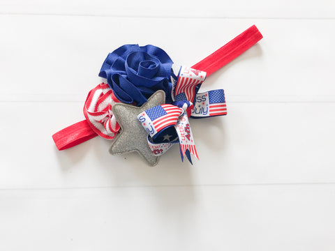 Red White and Blue Patriotic Pageant Headband - The Enchanted Magnolia