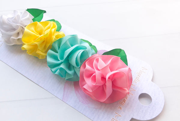 Girls Ribbon Flower Hair Clip Set