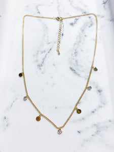 Mini Round Charm Necklace - Gold