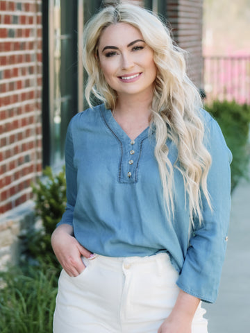 Country Club Chambray Top