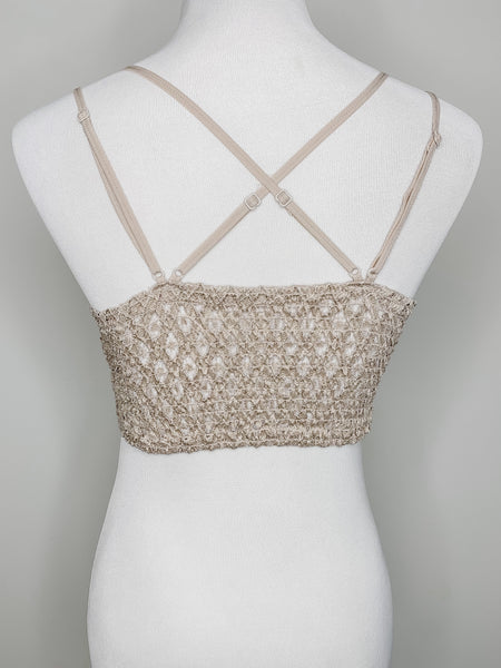 Amber Lace Bralette - Light Taupe