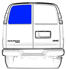 CRL FW151 Rear Driver Side Cargo Door Solid Glass Window Chevrolet Express, GMC Savana Van 1996.5-2017