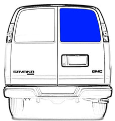 CRL FW161 Rear Passenger Side Cargo Door Solid Glass Window Chevrolet Express, GMC Savana Van 1996.5-2017