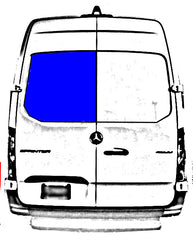 "AMA Driver Rear Cargo Door Solid Glass Window Sprinter Van 2019-2020  144"" and 170"" Wheel Base (Low or High Roof)     Part # MS18-LB P  Mfg: AMA (AM AUTO)"