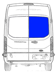 "VWD Passenger Rear Cargo Door Solid Glass Window Ford Transit Van 2015-2020  130"" or 148"" , 148"" Extended Wheelbase Medium and High Roof Van  Part # DTT18016R"
