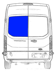 CRL FW285L Driver Side Rear Cargo Door Solid Glass Window Transit Van 2015-2018