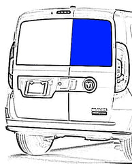 Passenger Rear Cargo Door Solid Glass Window Ram ProMaster City