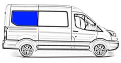 "AMA Passenger Side Rear Quarter Solid Glass Window Ford Transit Van 2015-2018  130"" Wheelbase Medium and High Roof Van"