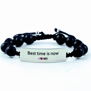 motivational bracelet, gemstone bracelet, onyx, best time is now, gift for her, women's motivational bracelet, daily reminder