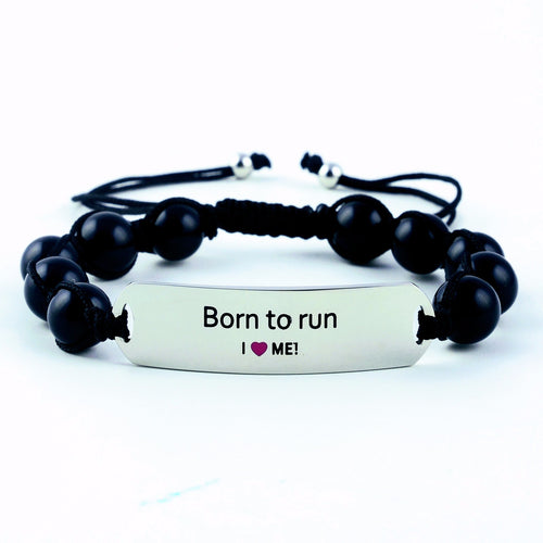 motivational bracelet, daily reminder, inspiration bracelet, motivational jewelry, born to run, gemstone bracelet, stainless steel bracelet, onyx bracelet, adjustable bracelet, gift for her